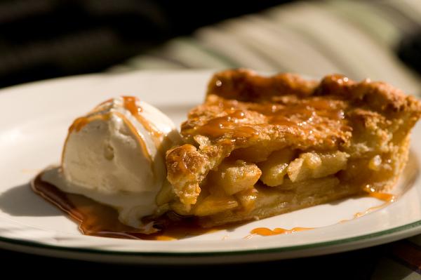 Apple Pie with Caramel and Vanilla Ice Cream